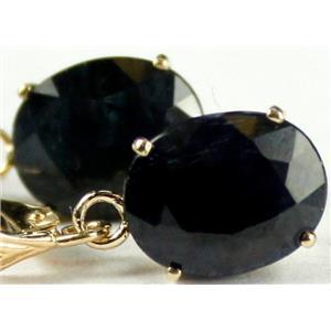 E107, Midnight Blue Natural Sapphire, 14k Leverback Earrings