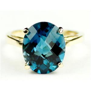 R055, London Blue Topaz, Gold Ring