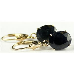E107, Midnight Blue Natural Sapphire,14k Gold Earrings