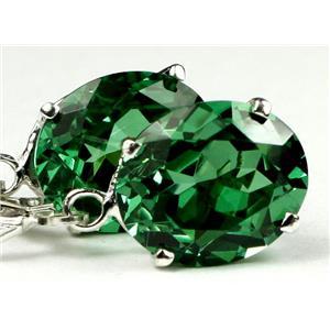 SE207, Russian Nanocrystal Emerald, 925 Sterling Silver Earrings