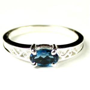 SR362, London Blue Topaz, 925 Sterling Silver Ladies Ring