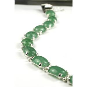 SB003C, Green Aventurine, 925 Sterling Silver Bracelet