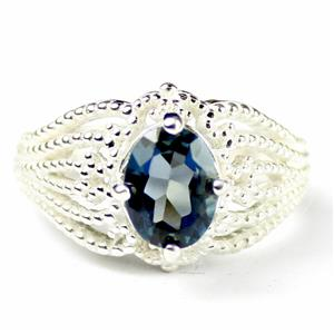 SR365, London Blue Topaz, 925 Sterling Silver Beaded Ring