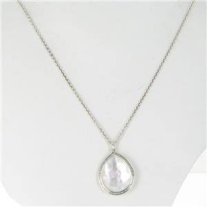 Ippolita Necklace Stella Large Teardrop MOP Diamonds 0.29cts Sterling 925 NWT $1395