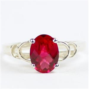SR300, Created Ruby, 925 Sterling Silver Ladies Ring