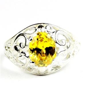Golden Yellow CZ, 925 sterling Silver Ladies Ring, SR111