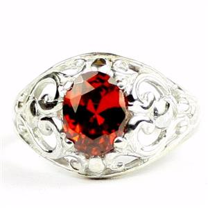 Garnet CZ, 925 Sterling Silver Ladies Ring, SR111