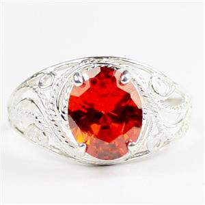 Created Padparadsha Sapphire, 925 Sterling Silver Ladies Ring, SR083