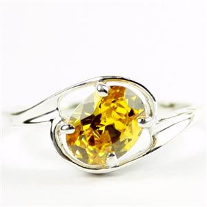 Golden Yellow CZ, 925 Sterling Silver Ring ,SR186