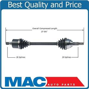 (1) 100% New CV Drive Axle Shaft Fits Quest 04-09 Front Driver Side 5 Speed  A/T