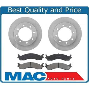 For 95-97 Ford F250 4 Wheel Drive Front Brake Rotors & Ceramic Brake Pads 8 LUG