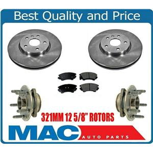 (5) Front Disc Rotors With Ceramic Pads & Wheel Hub Bearings For Camaro 3.6L V6
