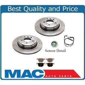 (2) 100% New Rear Disc Brake Rotor Pads & Sensors for BMW 525i 04-07