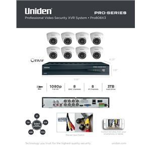 1080p HD XVR Kit 8-Channel 8x BNC 8x IP w/ 3TB + 8x Dome Surveillance Cameras