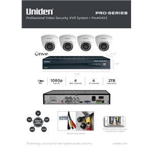 Uniden PRO404X2 Security XVR Kit 4-Channel 4x BNC 4x IP w/ 2TB + 4x Dome Cameras