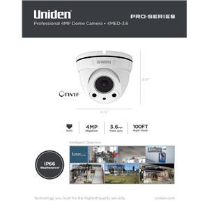 Uniden Pro Series 4.0-Megapixel IP Tamperproof Fixed Dome Camera 4MED-3.6