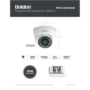 Uniden Pro Series 2.0-Megapixel IP Tamperproof Turret Dome Camera 2MTD-2.8