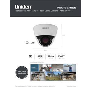Uniden Pro Series 4.0-Megapixel IP Tamperproof Varifocal Dome Camera 4MTPD-MVF