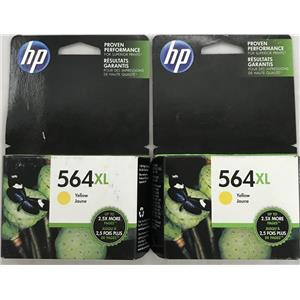 Lot of 2 HP 564xl Deskjet, Officejet, Photsmart Yellow Ink Cartridge CB325WN