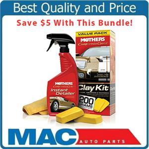 Mothers California Gold Clay Bar Kit & Instant Detailer Spray Microfiber Towel