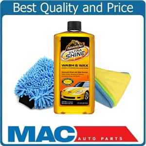 Armor All Ultra Wash & Wax Car Wash 16 OZ  Washing Mitt & 3 Microfiber Towels