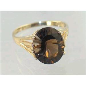 R280, Smoky Quartz Quantum Cut, Gold Ring