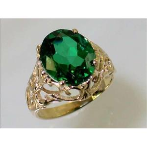 R114, Russian Nanocrystal Emerald, Gold Ring