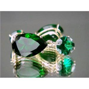 E922, Russian Nanocrystal Emerald, 14K Gold Earrings