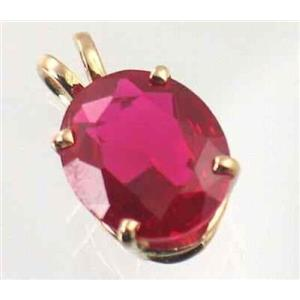 P040, Created Ruby 14K Gold Pendant