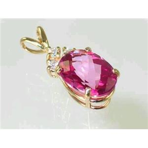 P043, Pure Pink Topaz 14K Gold Pendant w/accents