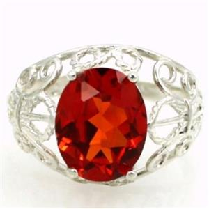 SR162, Created Padparadsha Sapphire, 925 Silver Ring