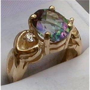 R243, Mystic Fire Topaz, Gold Ring