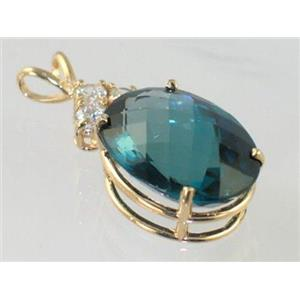 P016, London Blue Topaz, 14K Gold Pendant