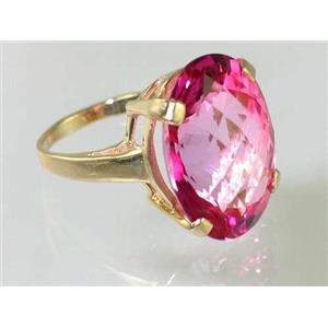 R217, Pure Pink Topaz, Gold Ring