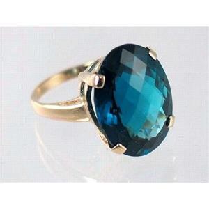 R217, London Blue Topaz, Gold Ring