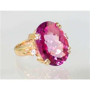 R269, Pure Pink Topaz, Gold Ring