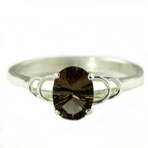 SR300, Smoky Quartz, 925 Sterling Silver Ring