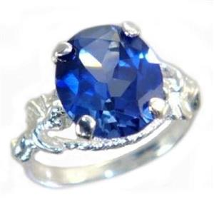 Created Blue Sapphire, 925 Sterling Silver Ring, SR154