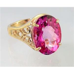 R049, Pure Pink Topaz, Gold Ring