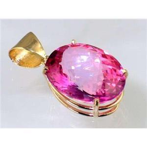 P082, Pure Pink Topaz 14K Gold Pendant