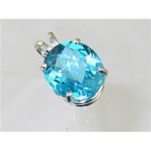 SP040, Swiss Blue Topaz 925 Sterling Silver Pendant
