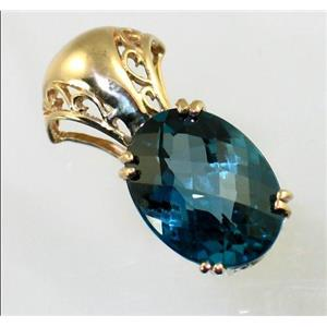 P050, London Blue Topaz 14K Gold Pendant