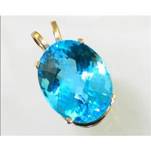 P080, Swiss Blue Topaz 14K Gold Pendant