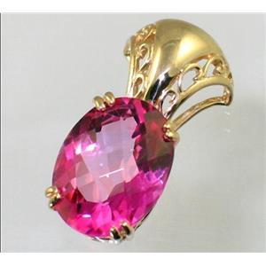 P050, Pure Pink Topaz 14K Gold Pendant