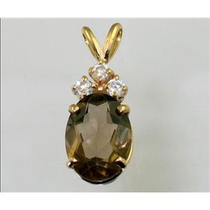 P043, Smoky Quartz 14K Gold Pendant w/accent