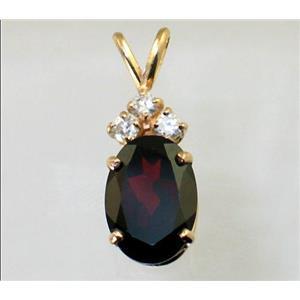 P043, Mozambique Garnet 14K Gold Pendant w/accent