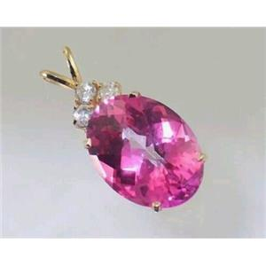 P016, Pure Pink Topaz, 14K Gold Pendant