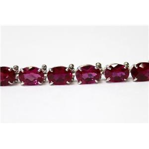SB002, Created Ruby, 925 Sterling Silver Bracelet
