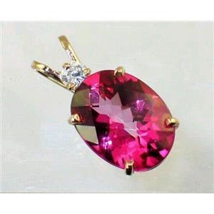 P018, Pure Pink Topaz 14k Gold Pendant