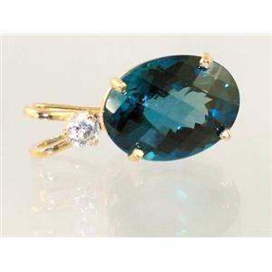P018, London Blue Topaz 14k Gold Pendant